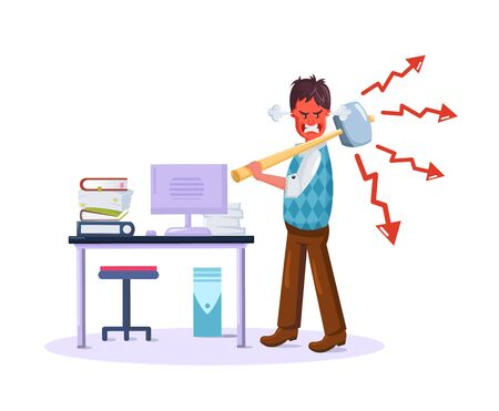 Business man, overwork, stress, deadline. Aggressive overworked businessman due to excessive work with a reddened face with a hammer in his hand, wants to break the computer vector Illusztráció