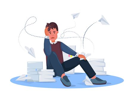 Tired male clerk with papers on the floor parses documents. Business man, overwork, stress, deadline, stressful work, stress at workplace cartoon vector illustration Illusztráció