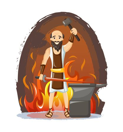 Ancient greek mythological god Hephaestus vector cartoon illustration