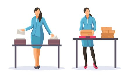 Post office workers shipping letters and parcels. Group of postmen woman sort and send mail letters and parcels to the addressee, delivering correspondence. Mail delivery service cartoon vector