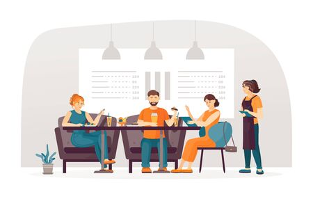 Friends and girlfriends couple together meet at bar, talking and having dinner burgers ice cream with the waitress taking the order. Waitresses serving people relaxing in bar cafe cartoon vector Vector Illustration