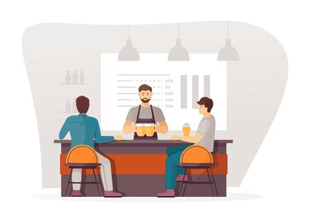 Waitresses serving people relaxing in bar pub cafe. Waitresses makes beer, serving clients delivering drinks. Friends together meet at beer cartoon vector illustration