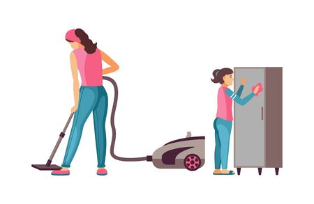Housewife woman with vacuum cleaner cleaning room.