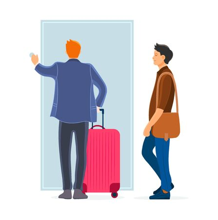 Two man arriving from business travel inside the front door Фото со стока - 138354010