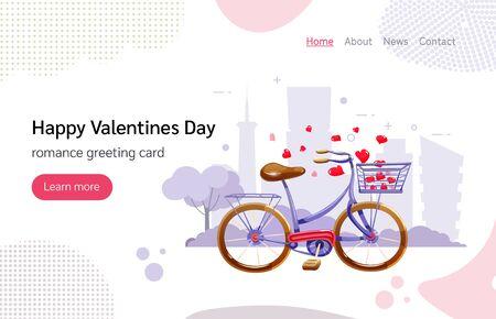 Cute bike with basket and flying hearts Illusztráció