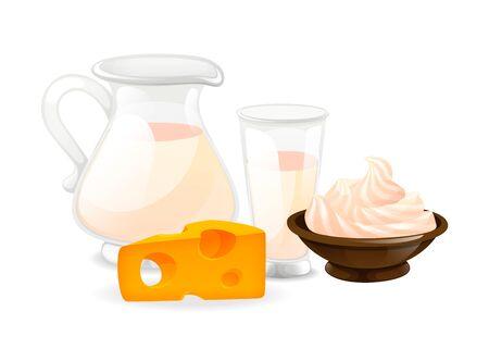 Dairy natural nutrition products set cartoon vector illustration Foto de archivo - 138258112