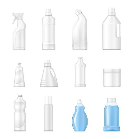 House cleaning plastic products realistic set vector isolated.