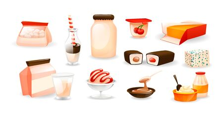 Dairy natural nutrition products set cartoon vector Иллюстрация