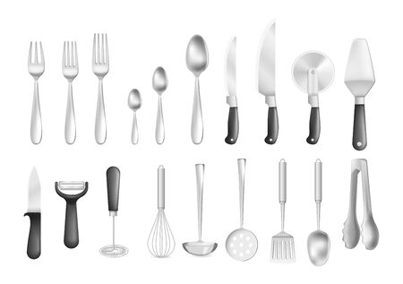Realistic stainless metal kitchen appliances cutlery vector illustration