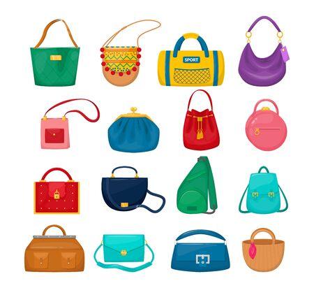 Lady accessories bag clutch, hobo, tablet, hippie, sling bag, sports, Vektorgrafik