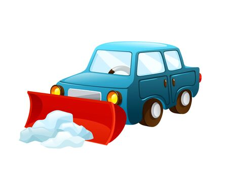 Car with nozzle for snow removal vector