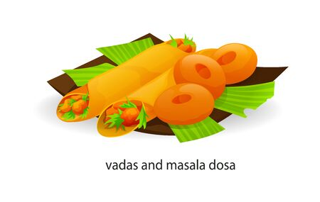 Traditional indian dish donuts and tubes with sauces vada masala dosa Illustration