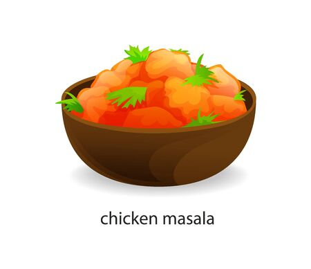 Traditional indian dish chicken masala slices vector