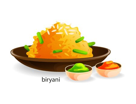 Traditional indian dish biryani the second dish rice and spices Çizim