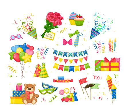 Celebration Birthday party decorations set. Happy birthday party symbols gift, cupcakes, cake, garlands, festive candles burning, ties, bows, toys, bouquet of roses, envelope cartoon isolated vector