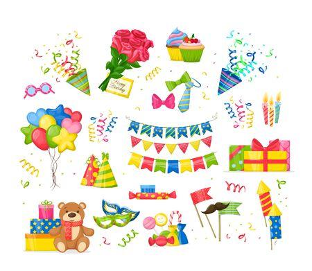 Conjunto de decoraciones de fiesta de cumpleaños de celebración. Regalo de símbolos de fiesta de feliz cumpleaños, cupcakes, pastel, guirnaldas, velas festivas encendidas, corbatas, arcos, juguetes, ramo de rosas, vector aislado de dibujos animados de sobre
