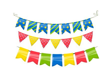 Rainbow garland with dots and stars for celebration birthday party Standard-Bild - 140207047