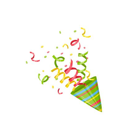 Exploding party popper with confetti explosion vector