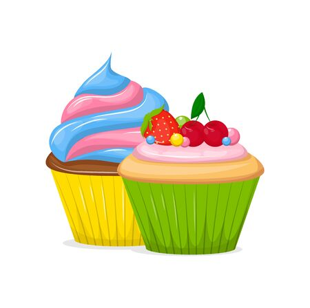 Cupcakes and Muffin sweet pastries food vector