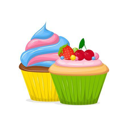 Cupcakes y muffin vector de comida de pasteles dulces