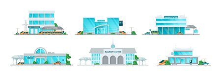 Railway station building cartoon set. Building of the railway station with platform for departure and arrival of trains, passenger terminal, timetables, taxi vector illustration Vettoriali