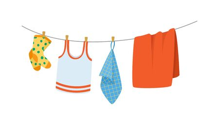 Drying childrens clothes and accessories after washing on a rope. 일러스트