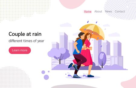 The couple together with umbrella running in autumn rainy