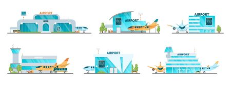 Airport building and airplanes, taxi, car, loader.
