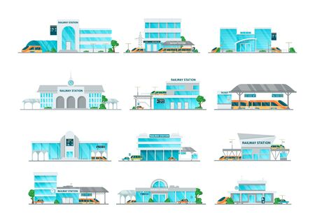 Railway station building cartoon set vector illustration