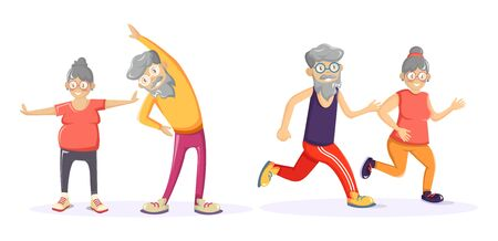 Senior age couple together running and doing exercises.