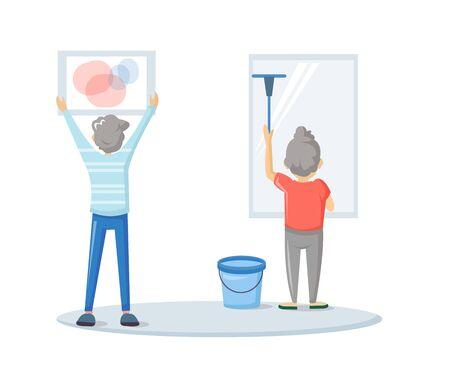 Housework. Household chores at home cartoon vector Ilustracja