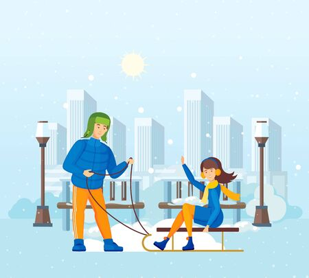 Couple together man and woman, young man rides girl on sled