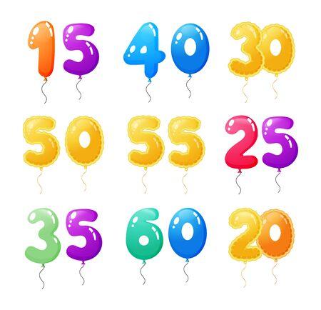 Happy Birthday anniversary numbers balloons cartoon vector