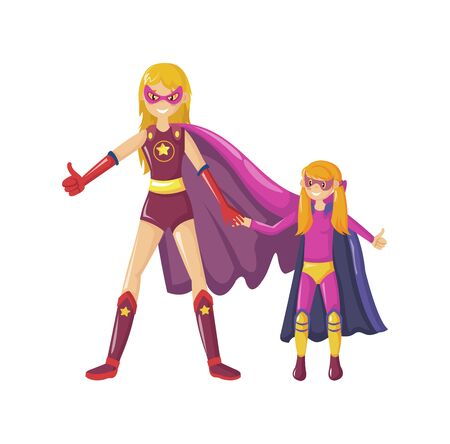 Superheroes mom stands holds daughter hand and shows class together