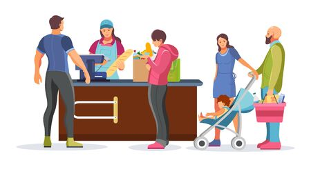 Shopping group people waiting in queue in supermarket. Food store man girl elderly woman in queue to the cashier. Cashier punches goods at the checkout. Customer service cartoon vector illustration