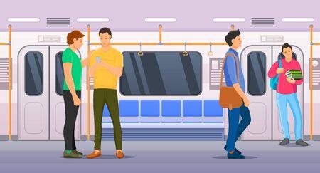 People sitting and standing inside subway transport metro. Ilustracje wektorowe