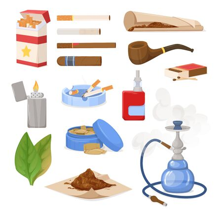 Smoking tobacco, bad habits set. Tobacco hookah, vape with smoke steam. Cigars, cigarettes, cigarillos, rolls in paper. Snuff, chewing tobacco powder, nicotine, tobacco leaves. Cigarette harm vector Illustration