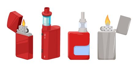 Metal lighter with burning flame and electronic cigarette with a smoke cartridge and fruit flavors. Smoking tobacco and its substitutes. Harm to health concept