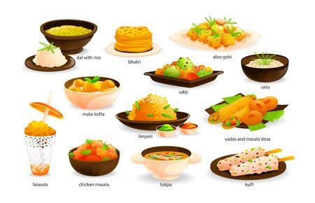 Indian cuisine traditional food set. India dishes menu restaurant breakfast dinner