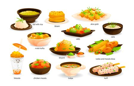 Indian cuisine traditional food set. India dishes menu restaurant breakfast dinner