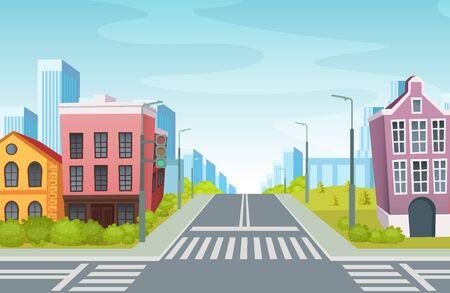 Urban landscape with empty urban street traffic road, sidewalk, crosswalk