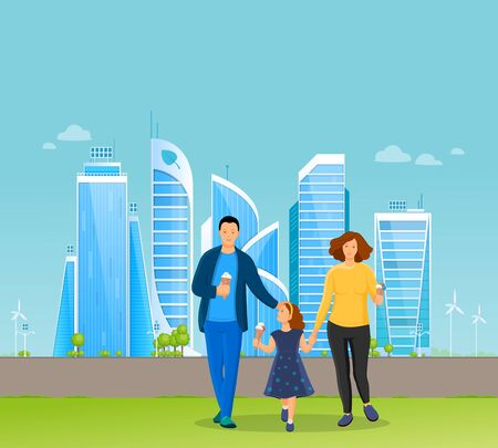 Young family with kid walk on background of skyscrapers eat ice cream,