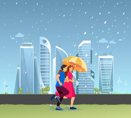 The couple together with umbrella running in autumn rainy 向量圖像