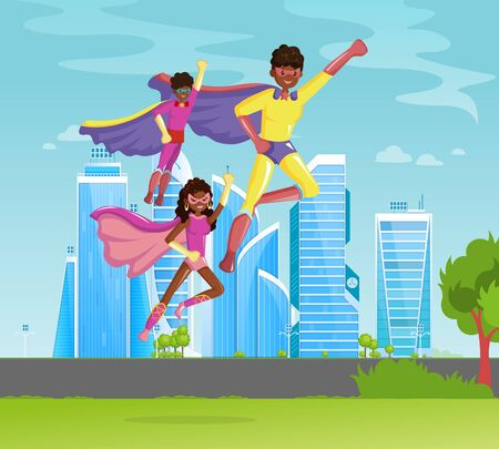 African American family superheroes father and children fly together i