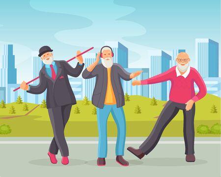 Elderly men senior age person dances in retro style.