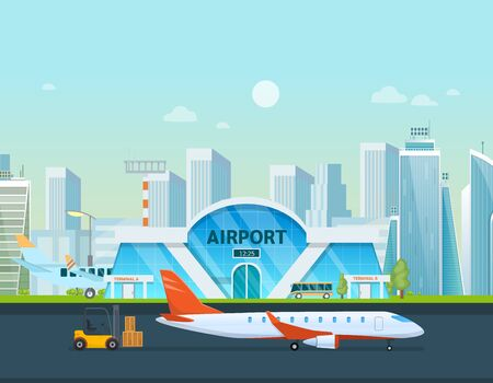 Airport terminal building and airplanes, taxi, car, loader.