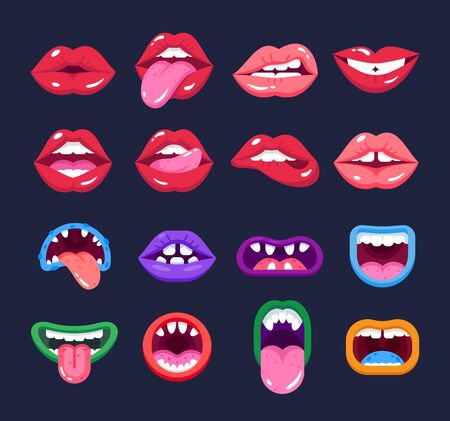 Sexual woman and monster mouths. Red lips and scary monster teeth.