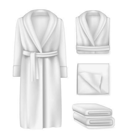Blank bathrobe male and female, fluffy towel, cloths pemty template mock-up.