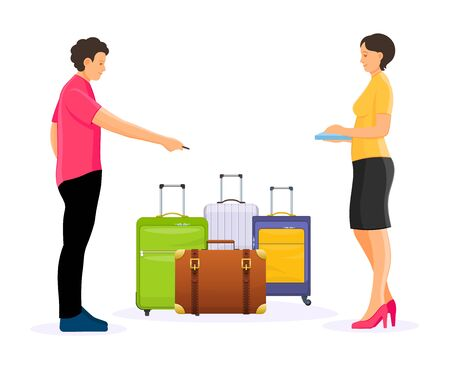 Man and woman count luggage, waiting to arrival and departure