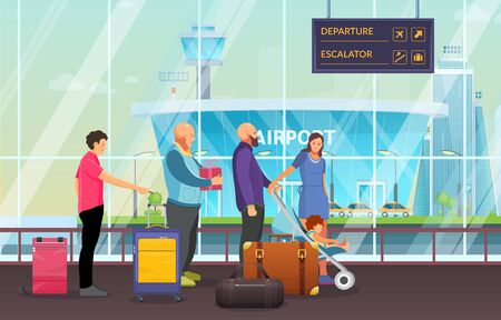 Passenger group people together waiting in airport terminal. Passengers family with child in pram, elderly waiting to arrival, departure with luggage, suitcases, in waiting room cartoon vector Vecteurs